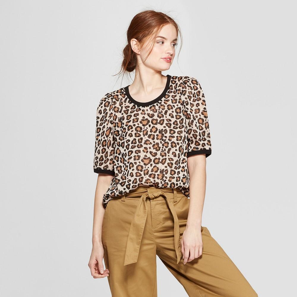 Women's Leopard Print Short Sleeve Scoop Neck Woven T-Shirt - A New Day Tan XL, Beige
