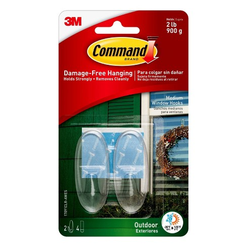 Command Medium Sized Outdoor Window Decorative Hooks with Strips Clear - image 1 of 3