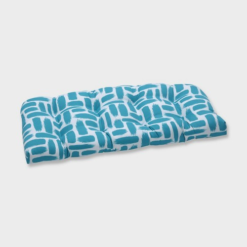 Baja Turquoise Wicker Outdoor Loveseat Cushion Blue - Pillow Perfect - image 1 of 2