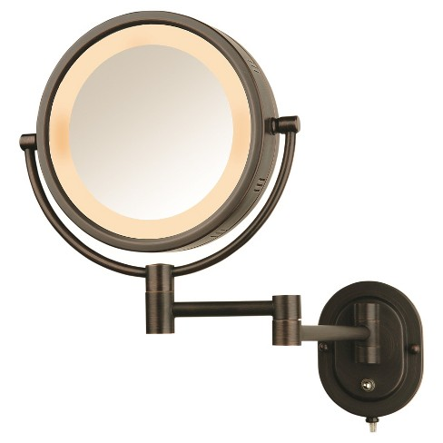 Jerdon 5X-1X Halo Lighted Wall Mirror Double Arm Bronze - image 1 of 1