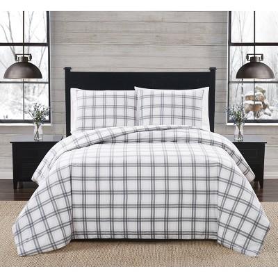 Plaid Flannel Comforter Set Gray - London Fog