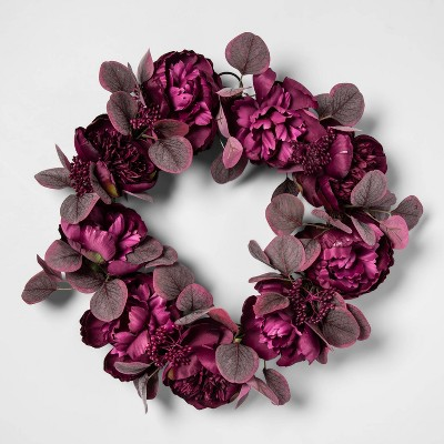 20  Artificial Peony Flowers Wreath Purple - Opalhouse™