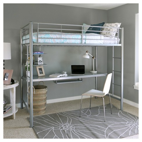Kids Workstation Bunk Bed   Twin   Metal   Saracina Home : Target