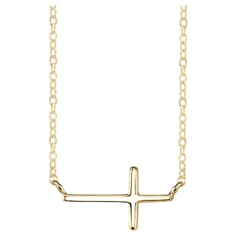 "Women's Sterling Silver Sideways Cross Station Necklace - Gold (18"") - image 1 of 2"