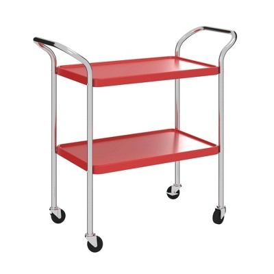 2 Tier Serving Cart Red/Silver - Room and Joy