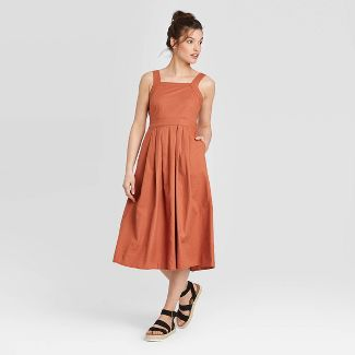 Women's Pleated Sleeveless Dress - Universal Thread™ Rust 8