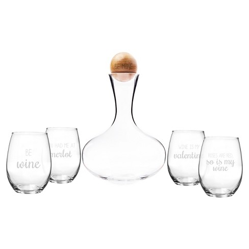 5ct Valentine's Be Mine Wine Decanter Set - image 1 of 3
