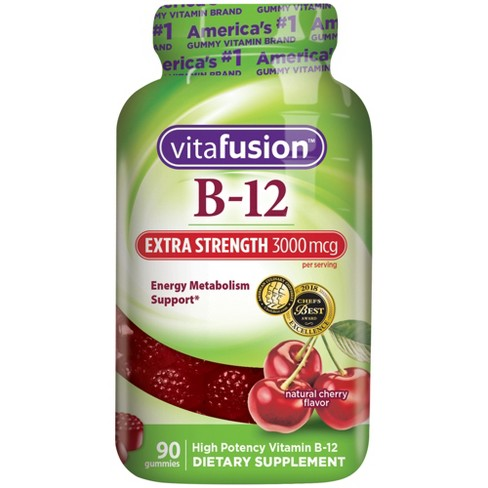 Vitafusion Extra Strength Vitamin B12 Dietary Supplement Gummies - Cherry - 90ct - image 1 of 4
