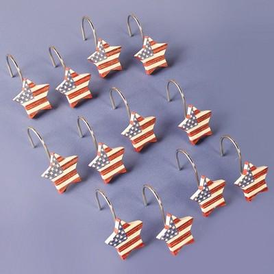 Lakeside Patriotic Americana Star Bathroom Shower Curtain Hooks - Set of 12