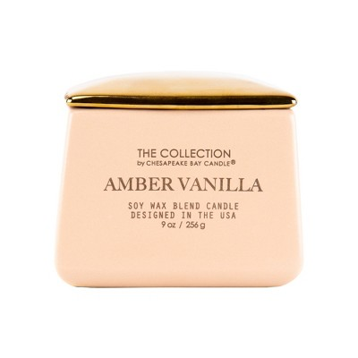 9oz Matte Square Container Candle Amber Vanilla - The Collection By Chesapeake Bay Candle
