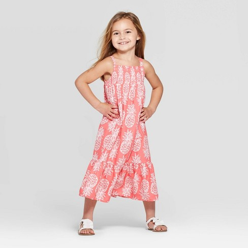 Toddler Girls' Pineapple Printed Maxi Dress - Cat & Jack™ Peach - image 1 of 5