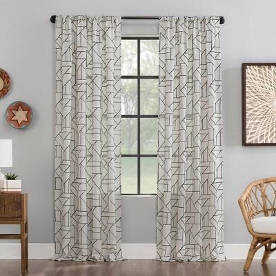 Jigsaw Embroidery Linen Blend Light Filtering Curtain - Archaeo