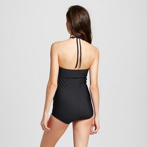911885ed33 Maternity High Neck One Piece Swimsuit - Sea Angel Black   Target