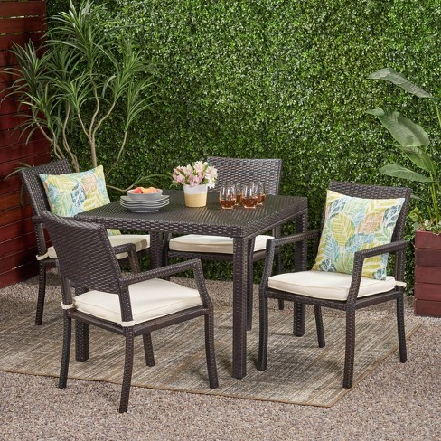 Rhode Island 5pc Square All-Weather Wicker Patio Dining Set - Brown - Christopher Knight Home - image 1 of 4