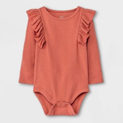 Baby Girls' Rib Ruffle Long Sleeve Bodysuit - Cat & Jack™ Copper Brown 0-3M