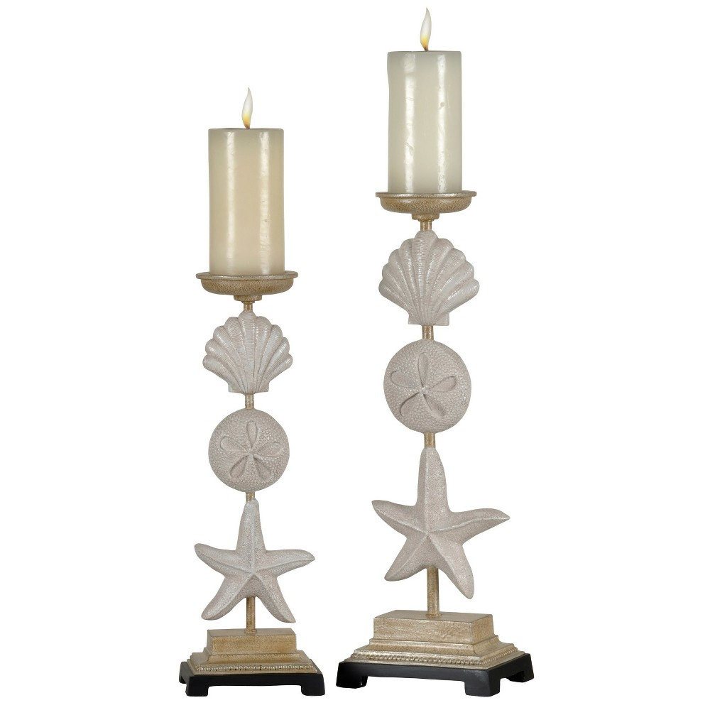 Candle Holder Set of 2 - Sea Shell - White, Sand Stone