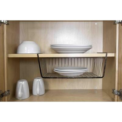Home Basics Large Under the Shelf Basket, Black Onyx