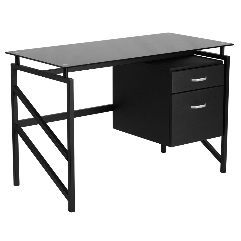 Image of Glass Desk with Two Drawer Pedestal - Black Glass Top/Black Frame - Riverstone Furniture Collection