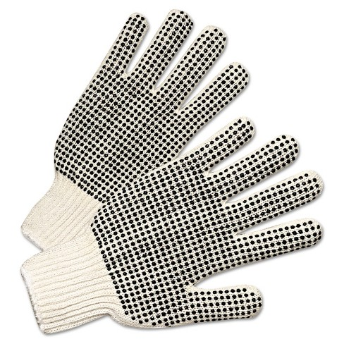 Anchor Brand PVC-Dotted String Knit Gloves Natural White/Black 12 Pairs 6705 - image 1 of 1