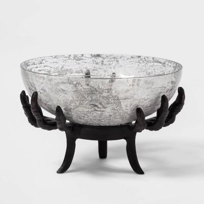 Crow Feet Glass Halloween Serving Bowl Black Short - Hyde & EEK! Boutique™