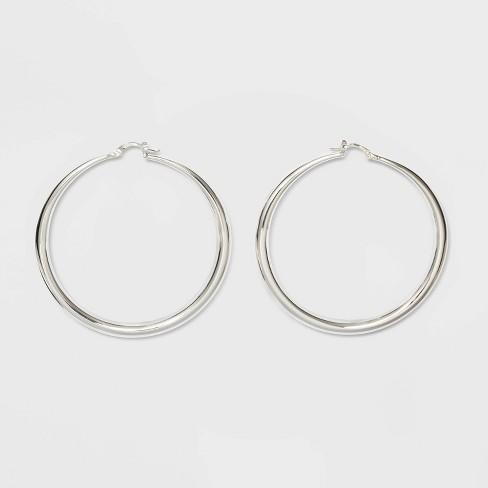 Silver Plated Graduated Hoop Earrings 60mm - A New Day™ Silver - image 1 of 2