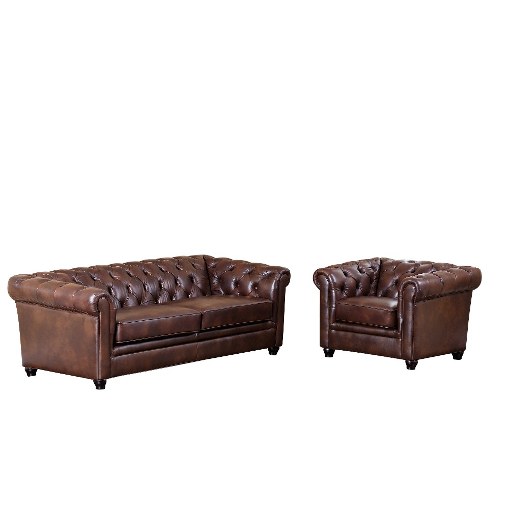 Image of 2pc Keswick Tufted Leather Sofa and Armchair Set Brown - Abbyson Living