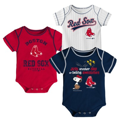 Boston Red Sox Baby Boys' 3pk Short Sleeve Bodysuit - 3-6 M