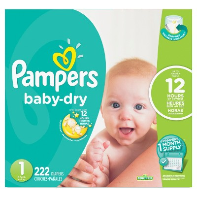 Pampers Baby Dry Diapers - Size 1 (222ct)