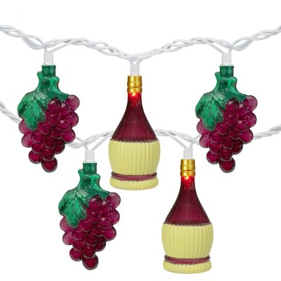 Northlight 10-Count Purple Grape and Wine Bottle Novelty Christmas Light Set, 7.5ft Green Wire