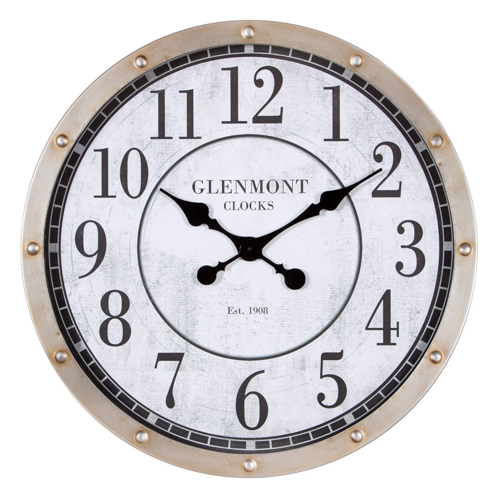 """Image of """"24"""""""" Glenmont Port Hole Brushed Round Wall Clock Metal/Off White/Black - Patton Wall Decor, Beige Black"""""""