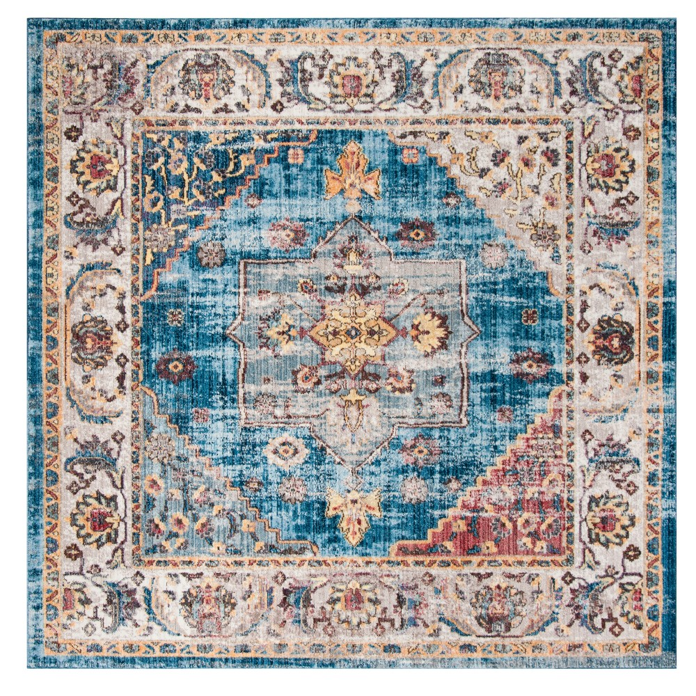 Blue/Ivory Floral Loomed Square Area Rug 7'X7' - Safavieh, White Blue