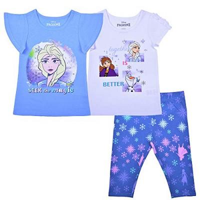 Disney Girl's 3-Pack Elsa and Anna Frozen Graphic Tees and Snowflake Patterned Capri Legging Set for Kids