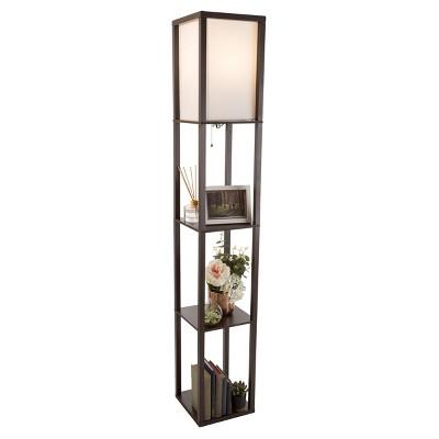 """Hastings Home Etagere-Style Floor Lamp – 10.25"""" x 62.75"""", Brown"""