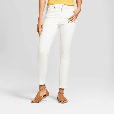 Women's High-Rise Skinny Jeans - Universal Thread™ Eggshell - image 1 of 3