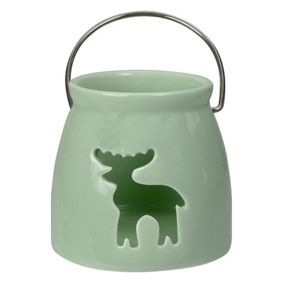 "Northlight 3"" Light Green Christmas Votive Candle Holder with Reindeer Cut Out"