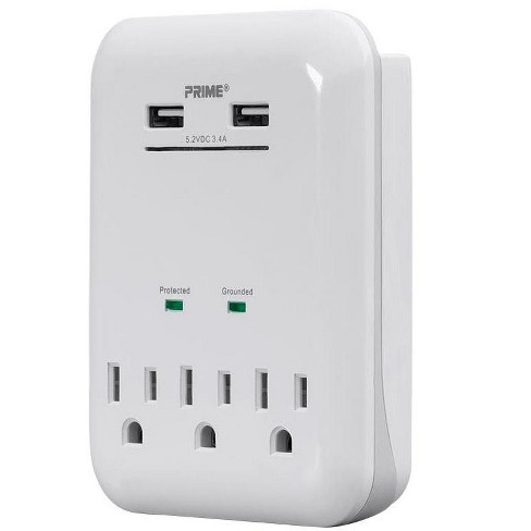 Monoprice 3 Outlet Surge Protector Wall Tap with 2 USB Charging Ports 3.4A, White - image 1 of 4
