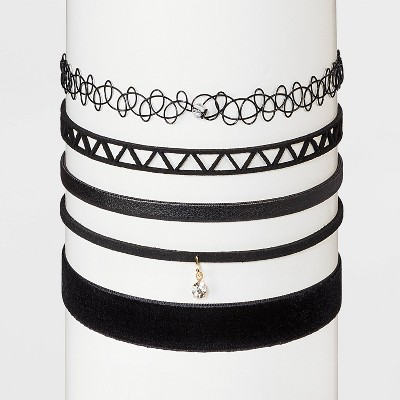 Geometric Choker Necklace Set 5pc - Wild Fable™ Black