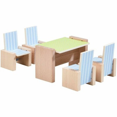 """HABA Little Friends Dining Room - Wooden Dollhouse Furniture for 4"""" Bendy Dolls"""