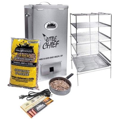 Smokehouse 9800-0000000 Little Chief Top Load 11.5 x 11.5 x 24.5 Inch Portable Outdoor Cooking BBQ Electric Wood Chip Smoker with Chrome Grill Racks