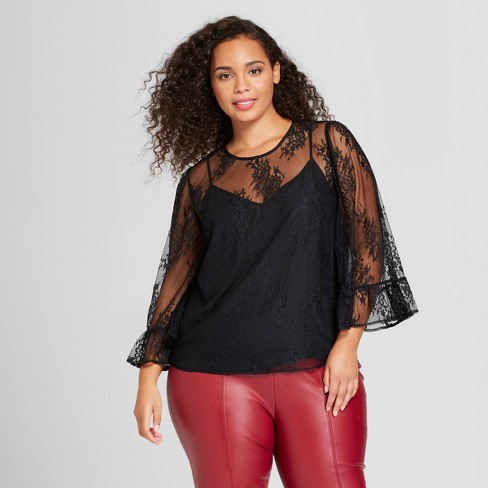 6210b5cb7c5161 Women's Plus Size Long Ruffle Sleeve Pullover Top - Who What Wear™ Black