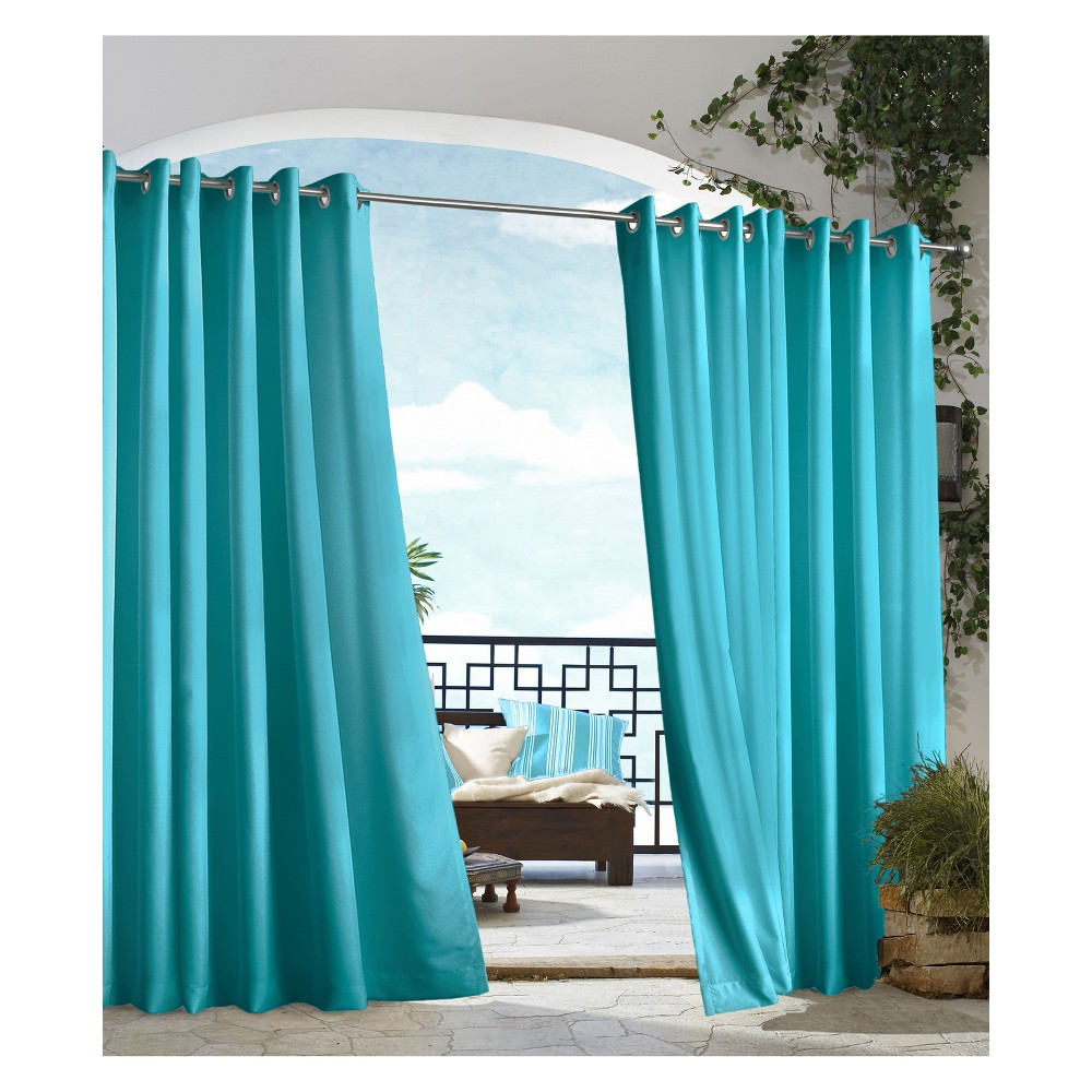 """Image of """"50""""""""x84"""""""" Gazebo Grommet Top Blackout Curtain Panel Solid Bahama Blue - Outdoor Décor, Size: 50x84"""""""