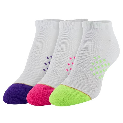 All Pro Women's Half Memory Cushion 3pk No show Athletic Socks - White/Green 9-11 - image 1 of 2