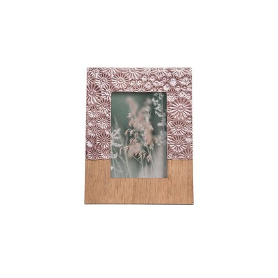 Purple Embossed Floral Pattern 4 x 6 inch Decorative Wood and Resin Picture Frame - Foreside Home & Garden
