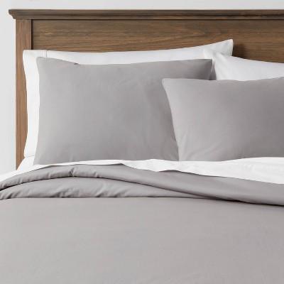 Full/Queen Organic Solid Duvet & Sham Set Classic Gray - Threshold™