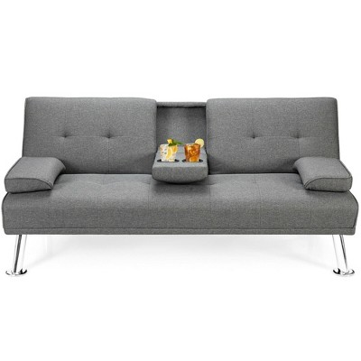 Costway Convertible Folding Futon Sofa Bed Fabric w/2 Cup Holders Light Gray/Dark Grey