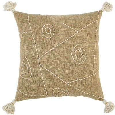 "18""x18"" Poly Filled Hyroglyphics Square Throw Pillow Khaki - Rizzy Home"