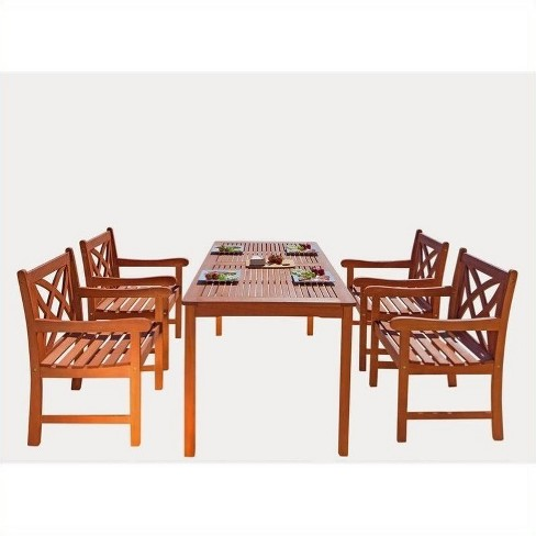 Wood 5 Piece Patio Dining Set in Brown-Pemberly Row - image 1 of 3