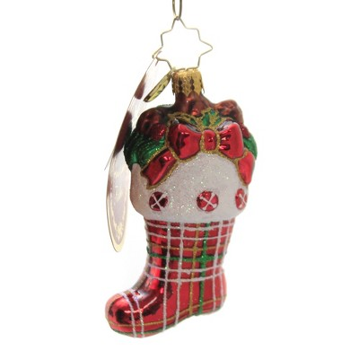 "Christopher Radko 3.5"" Classic Country Stocking Gem Ornament Christmas  -  Tree Ornaments"