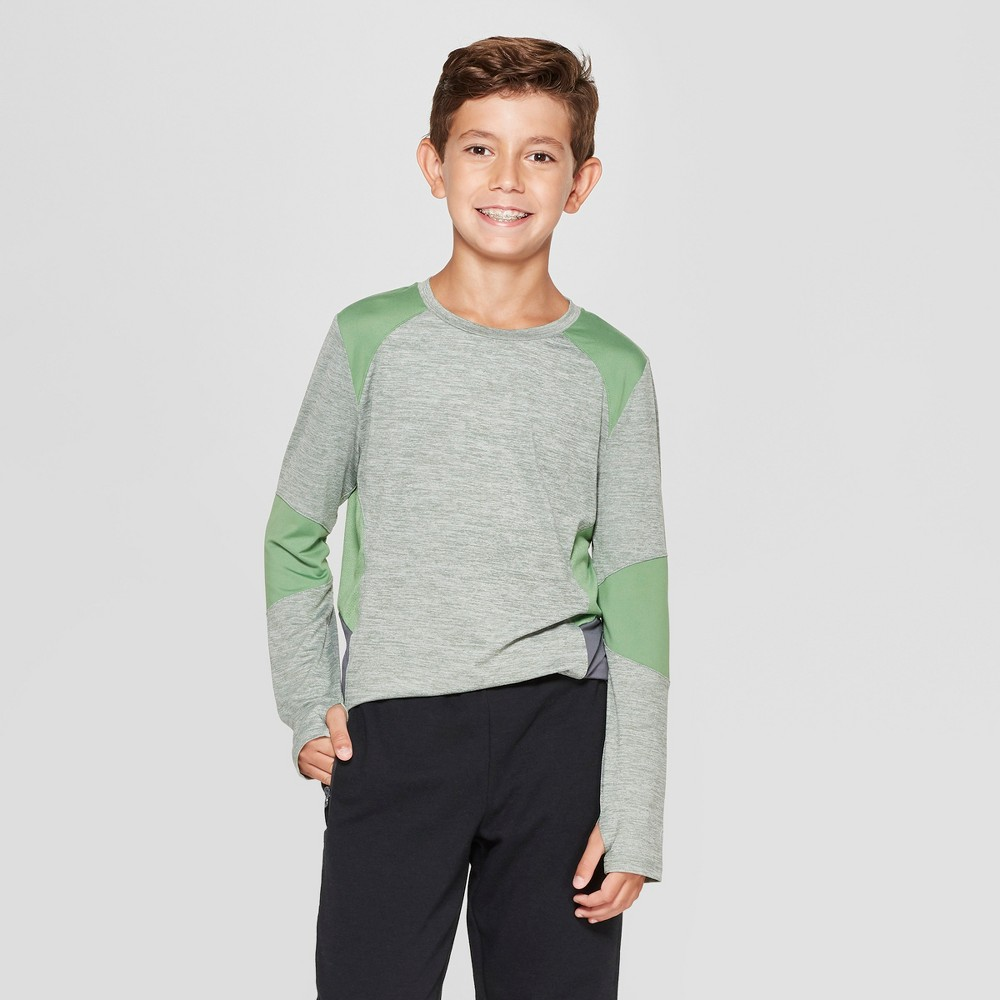 Boys' Novelty Pieced Long Sleeve T-Shirt - C9 Champion Green Heather L