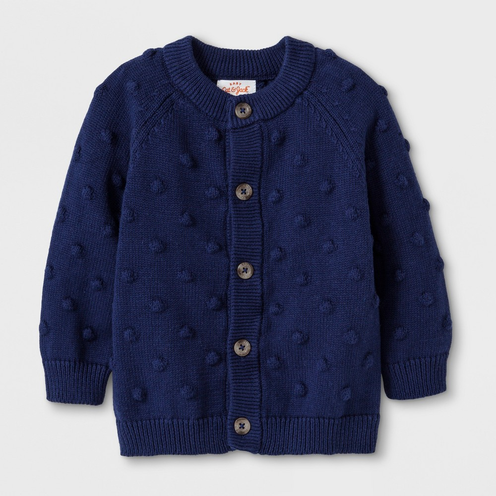 Image of Baby Button-Up Cardigan Sweater - Cat & Jack Blue 12M, Kids Unisex